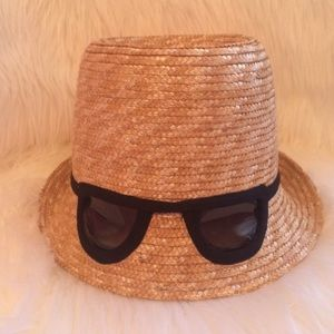 EUC Kate Spade Straw Hat W/Cat-eye Sunglasses